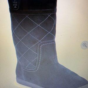 ToryBurch Alana genuine shearling black suede boot